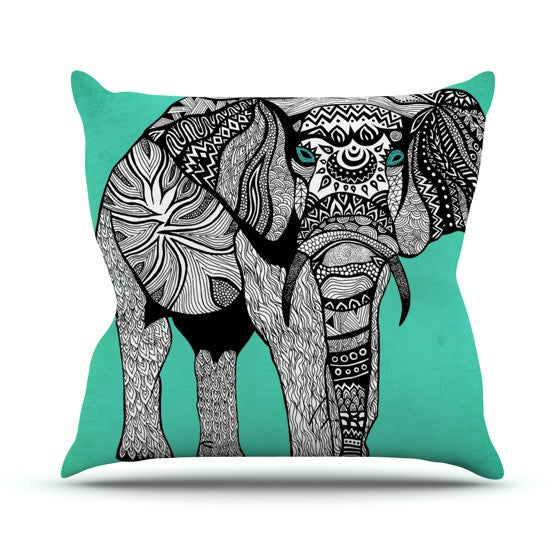 "Pom Graphic Design ""Elephant of Namibia Color"" Outdoor Throw Pillow - KESS InHouse  - 1"