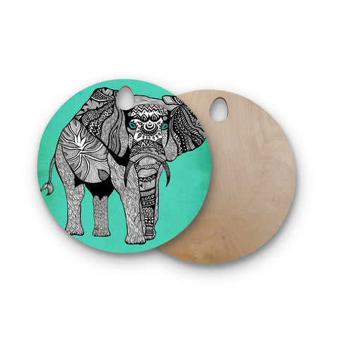"Pom Graphic Design ""Elephant of Namibia Color"" Round Wooden Cutting Board"