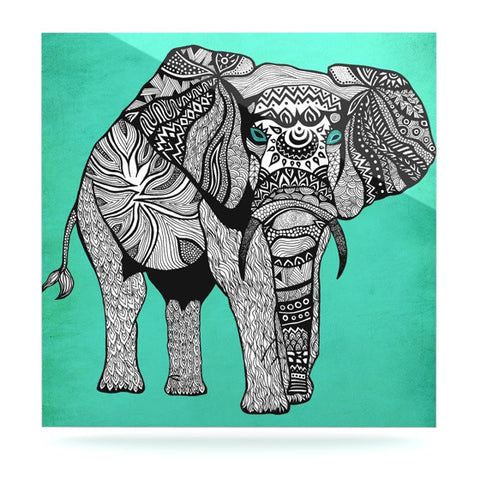 "Pom Graphic Design ""Elephant of Namibia Color"" Luxe Square Panel - KESS InHouse  - 1"