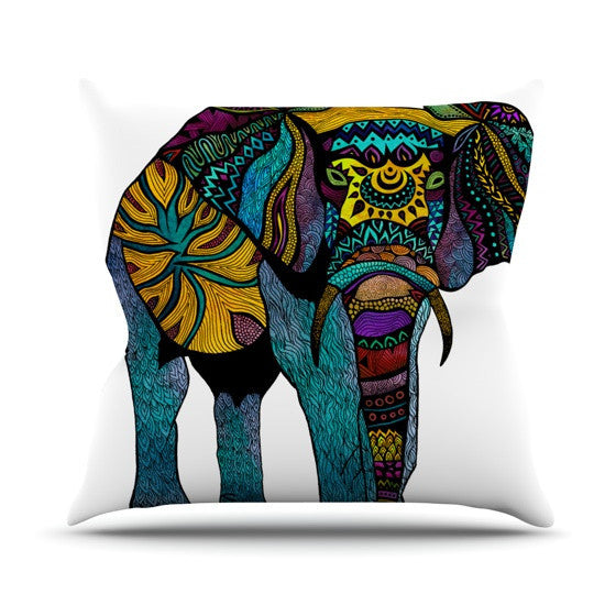 "Pom Graphic Design ""Elephant of Namibia"" Outdoor Throw Pillow - KESS InHouse  - 1"