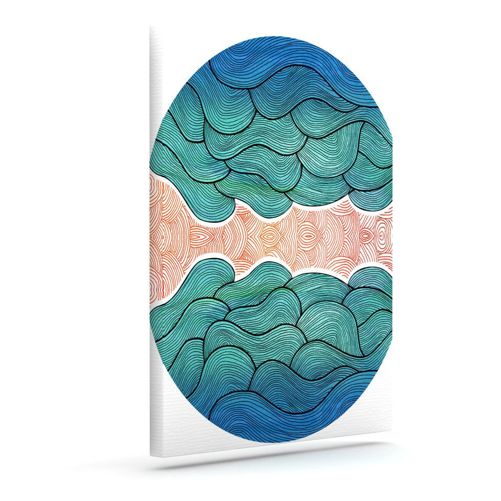 "Pom Graphic Design ""Ocean Flow"" Outdoor Canvas Wall Art - KESS InHouse  - 1"