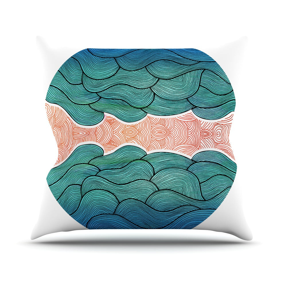 "Pom Graphic Design ""Ocean Flow"" Throw Pillow - KESS InHouse  - 1"