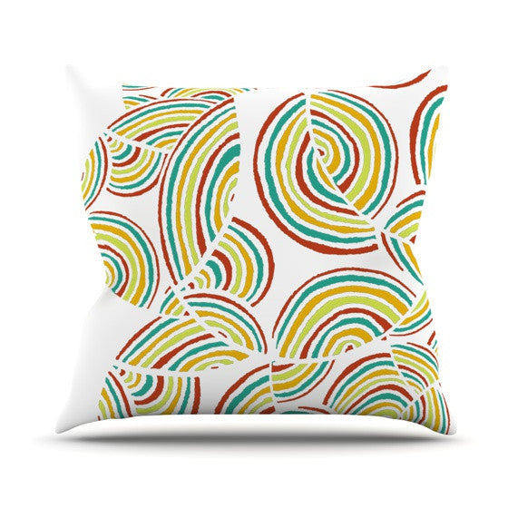 "Pom Graphic Design ""Rainbow Sky"" Outdoor Throw Pillow - KESS InHouse  - 1"