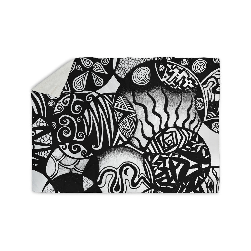 "Pom Graphic Design ""Circles and Life"" Sherpa Blanket - KESS InHouse  - 1"