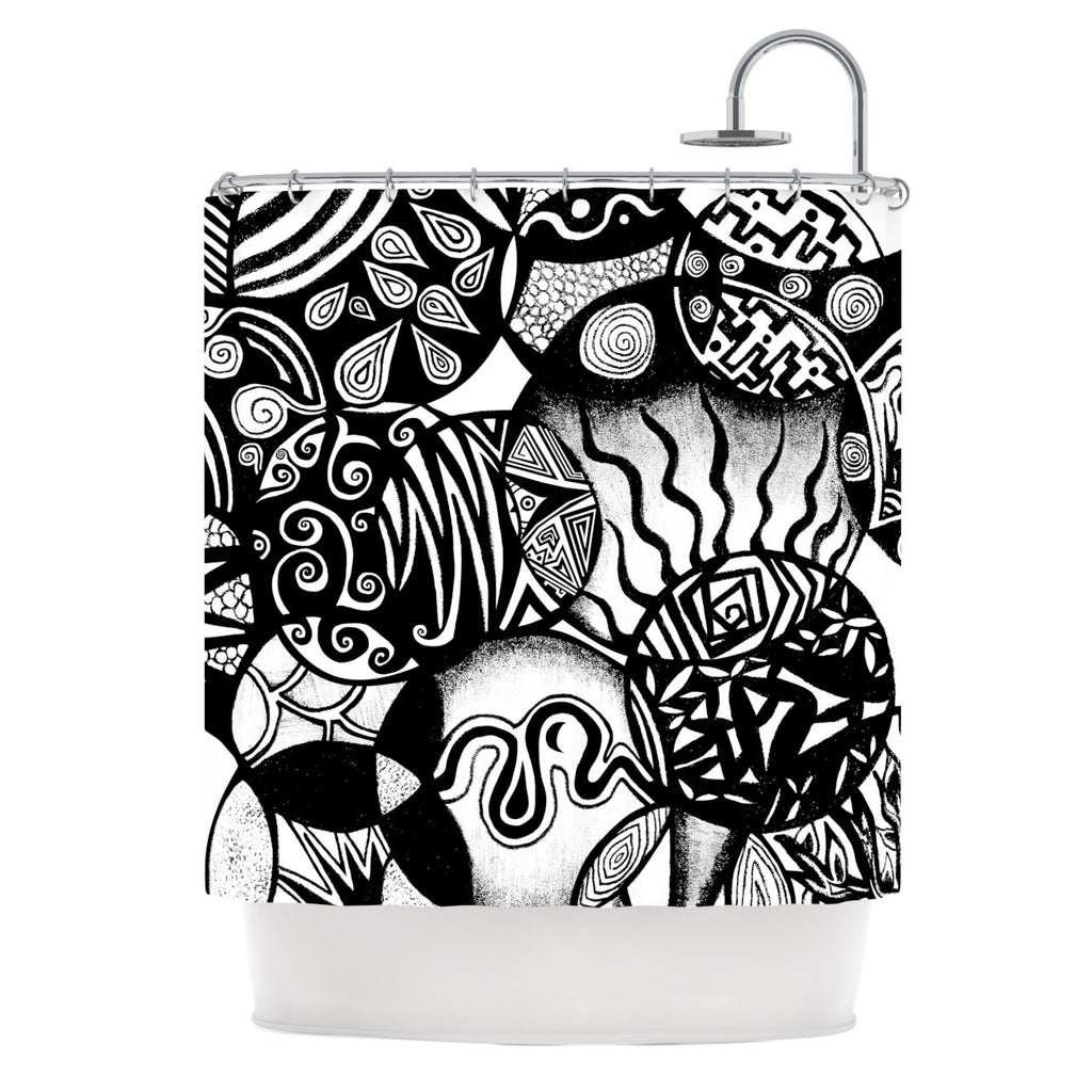 "Pom Graphic Design ""Circles and Life"" Shower Curtain - KESS InHouse"