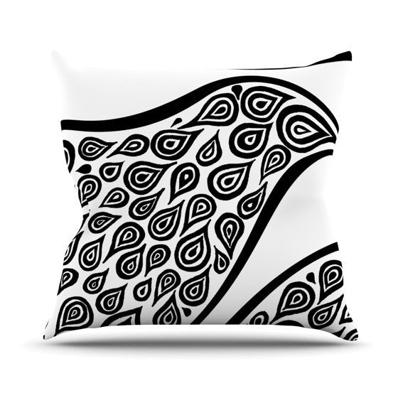 "Pom Graphic Design ""Bird in Disguise White"" Outdoor Throw Pillow - KESS InHouse  - 1"