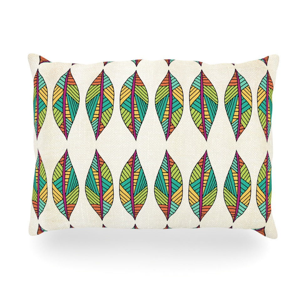 "Pom Graphic Design ""Tribal Leaves"" Oblong Pillow - KESS InHouse"