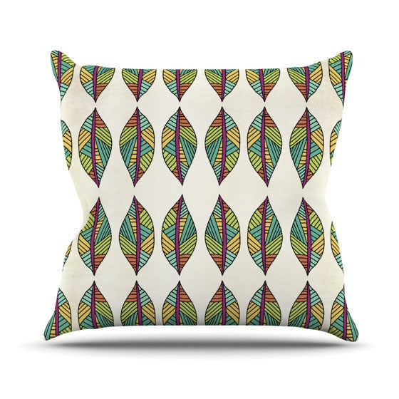 "Pom Graphic Design ""Tribal Leaves"" Outdoor Throw Pillow - KESS InHouse  - 1"