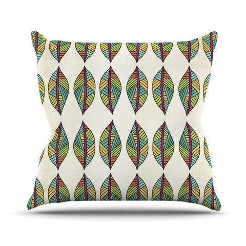 "Pom Graphic Design ""Tribal Leaves"" Throw Pillow - KESS InHouse  - 1"