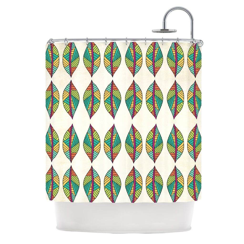 "Pom Graphic Design ""Tribal Leaves"" Shower Curtain - KESS InHouse"