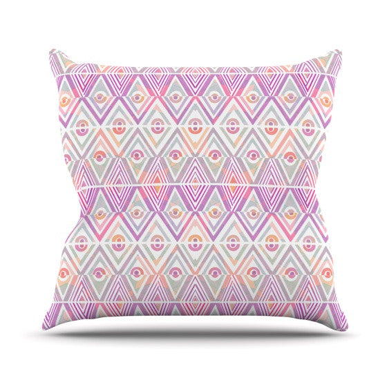 "Pom Graphic Design ""Soft Petal Tribal"" Throw Pillow - KESS InHouse  - 1"