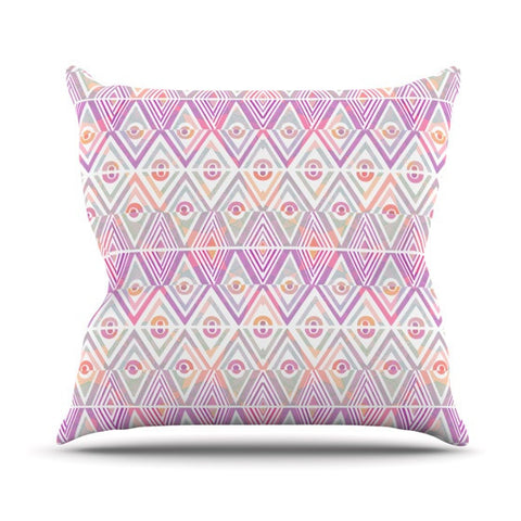 "Pom Graphic Design ""Soft Petal Tribal"" Outdoor Throw Pillow - KESS InHouse  - 1"