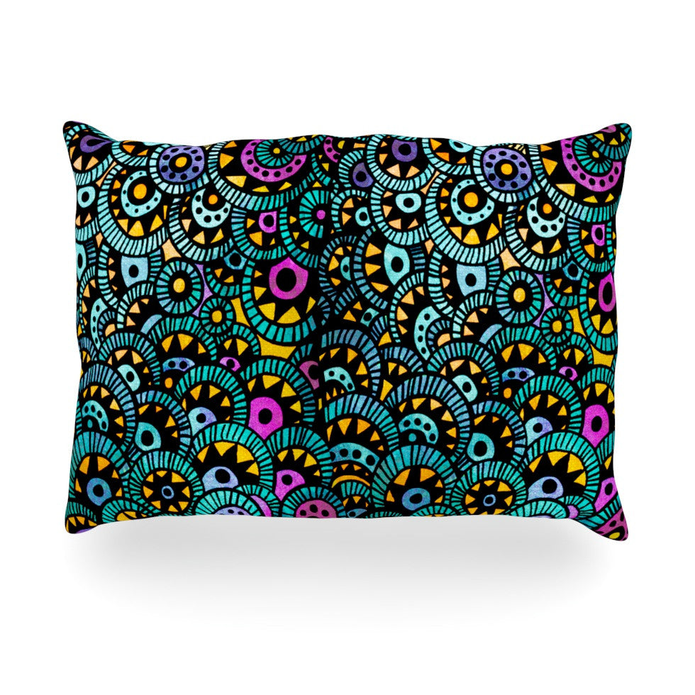 "Pom Graphic Design ""Peacock Tail"" Oblong Pillow - KESS InHouse"