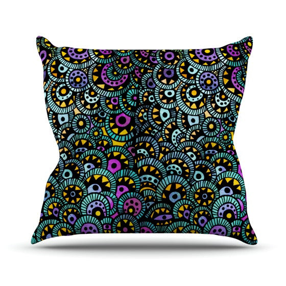 "Pom Graphic Design ""Peacock Tail"" Throw Pillow - KESS InHouse  - 1"