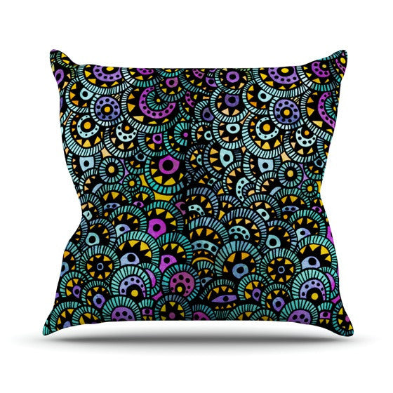 "Pom Graphic Design ""Peacock Tail"" Outdoor Throw Pillow - KESS InHouse  - 1"