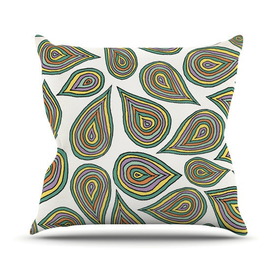 "Pom Graphic Design ""Its Raining Leaves"" Outdoor Throw Pillow - KESS InHouse  - 1"