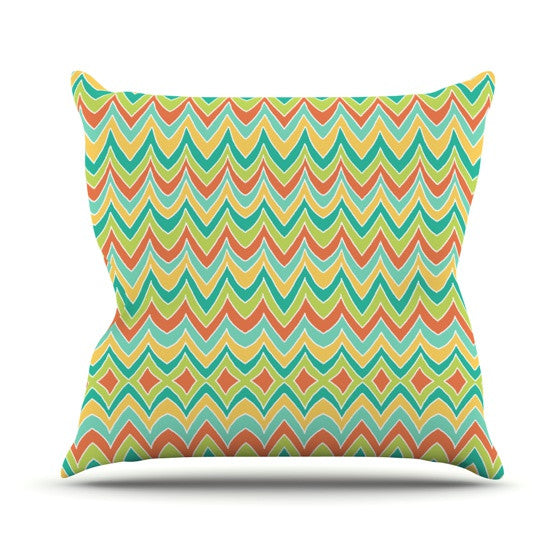 "Pom Graphic Design ""Bright and Bold"" Throw Pillow - KESS InHouse  - 1"
