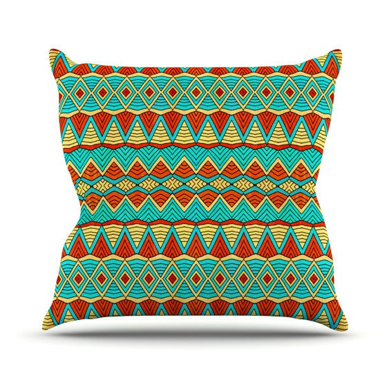 "Pom Graphic Design ""Tribal Soul"" Outdoor Throw Pillow - KESS InHouse  - 1"