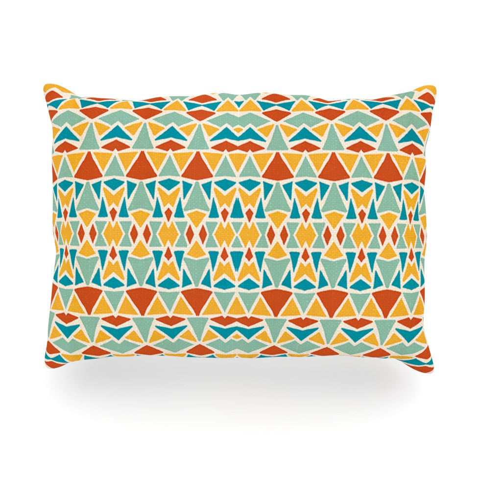 "Pom Graphic Design ""Tribal Imagination"" Red Yellow Oblong Pillow - KESS InHouse"