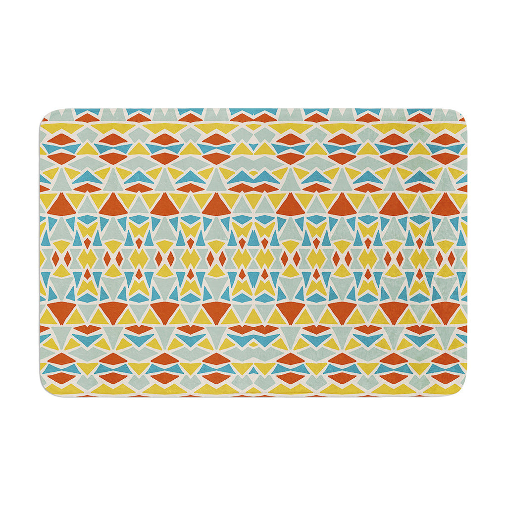 "Pom Graphic Design ""Tribal Imagination"" Red Yellow Memory Foam Bath Mat - KESS InHouse"