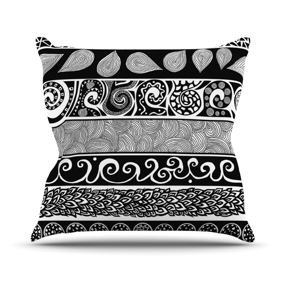 "Pom Graphic Design ""Tribal Evolution"" Throw Pillow - KESS InHouse  - 1"