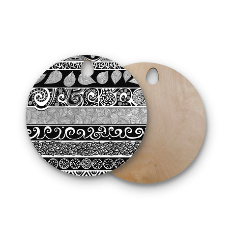 "Pom Graphic Design ""Tribal Evolution"" Round Wooden Cutting Board"