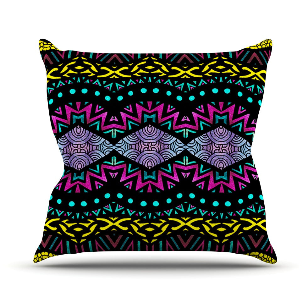 "Pom Graphic Design ""Tribal Dominance"" Throw Pillow - KESS InHouse  - 1"