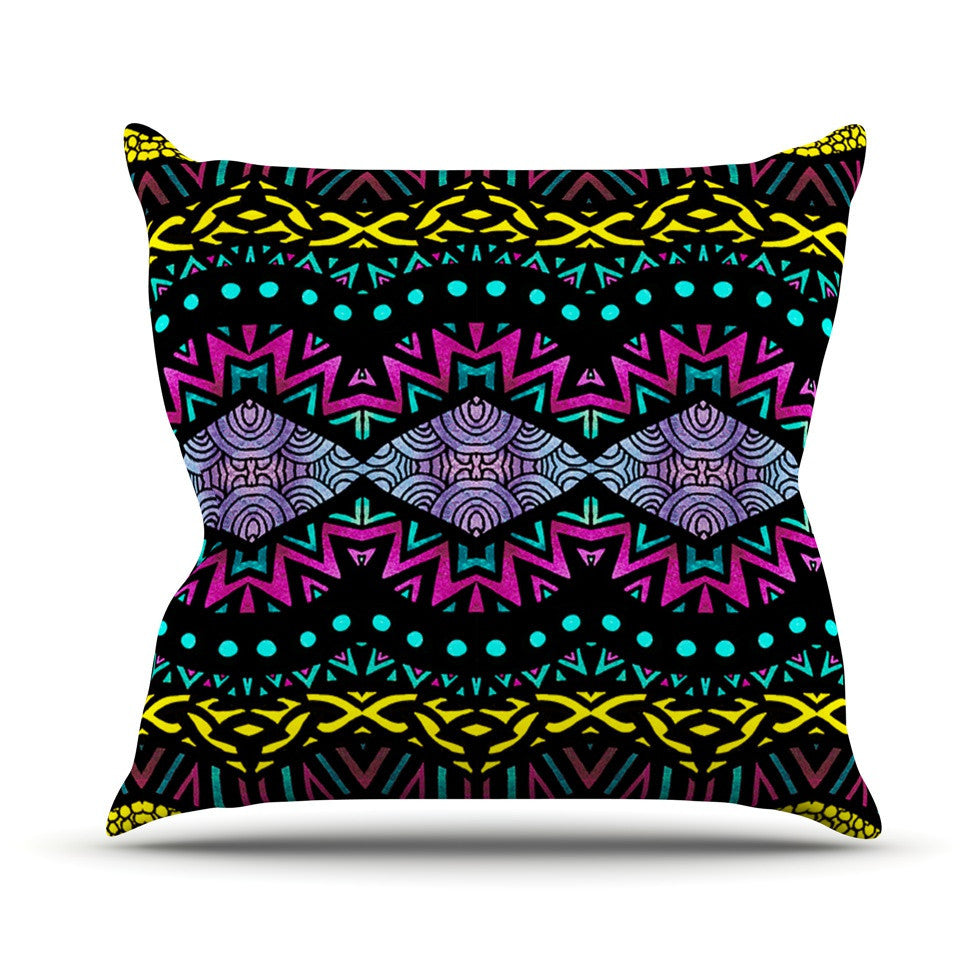 "Pom Graphic Design ""Tribal Dominance"" Outdoor Throw Pillow - KESS InHouse  - 1"