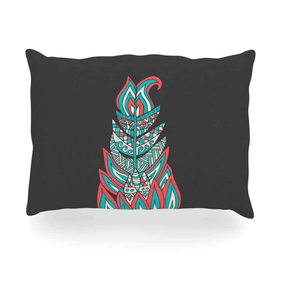 "Pom Graphic Design ""A Romantic Feather"" Red Teal Oblong Pillow - KESS InHouse"