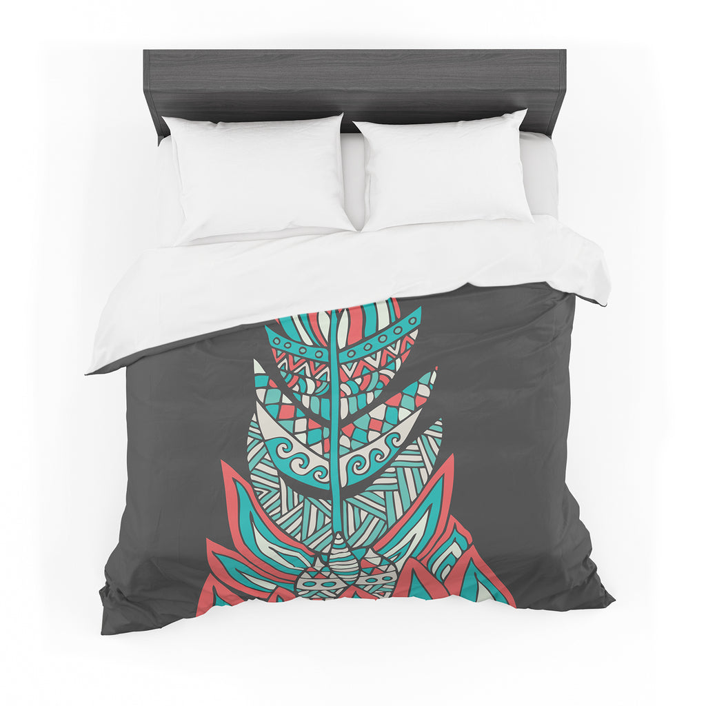 "Pom Graphic Design ""A Romantic Feather"" Red Teal Cotton Duvet"