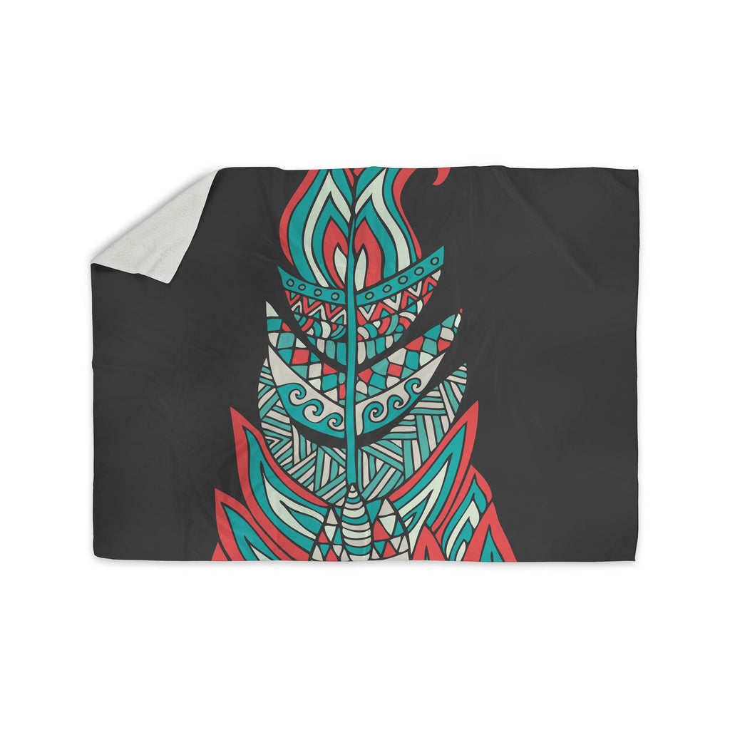 "Pom Graphic Design ""A Romantic Feather"" Red Teal Sherpa Blanket - KESS InHouse  - 1"