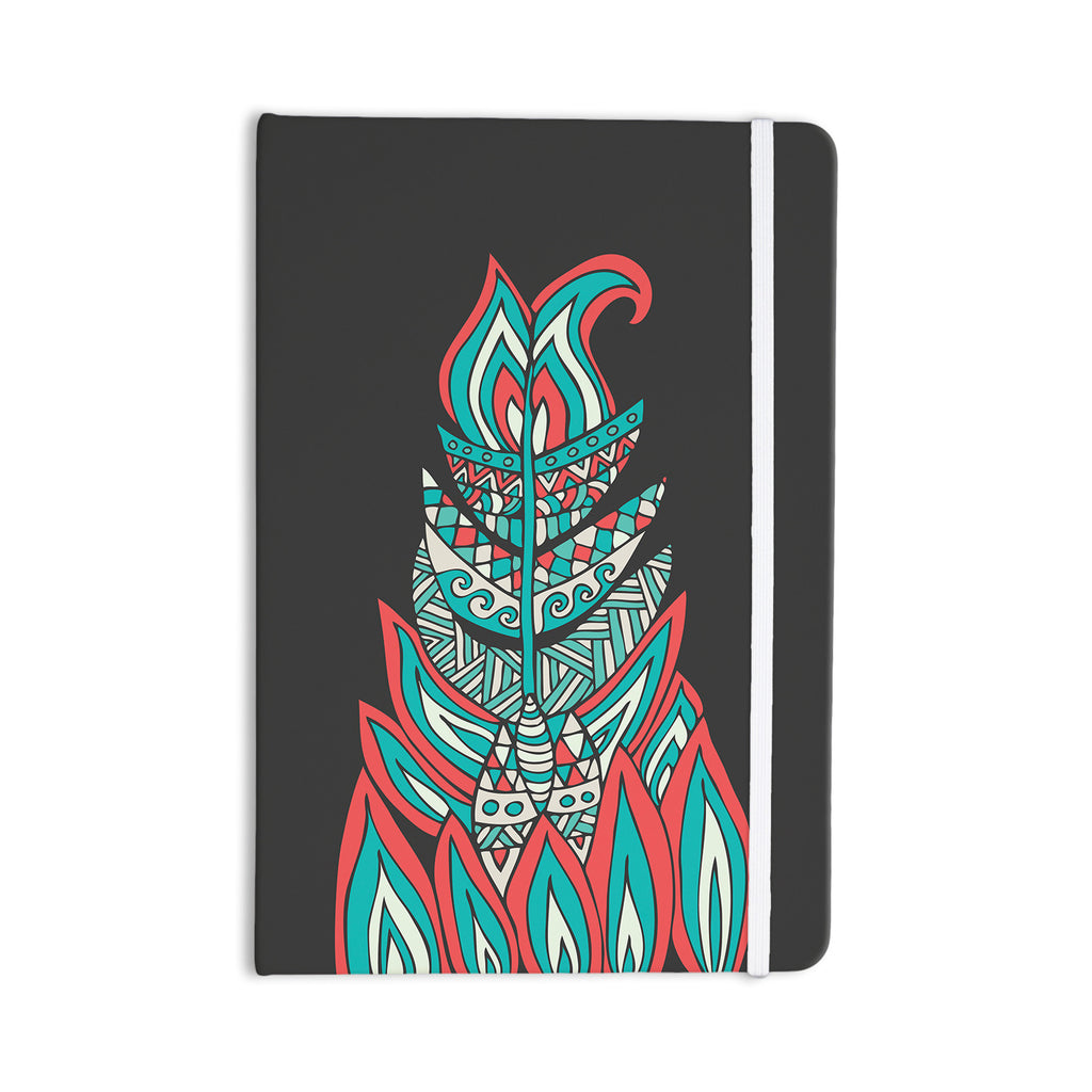 "Pom Graphic Design ""A Romantic Feather"" Red Teal Everything Notebook - KESS InHouse  - 1"