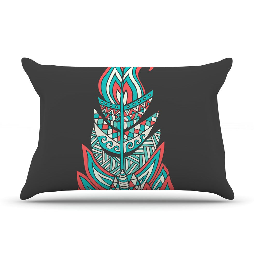 "Pom Graphic Design ""A Romantic Feather"" Red Teal Pillow Sham - KESS InHouse"