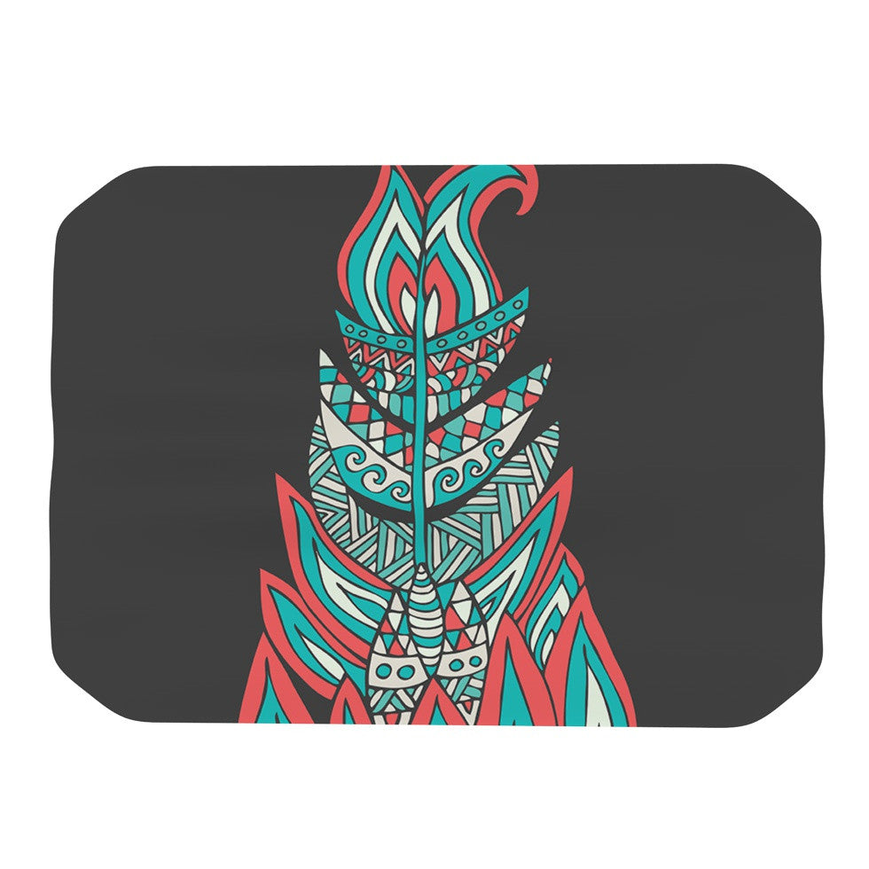 "Pom Graphic Design ""A Romantic Feather"" Red Teal Place Mat - KESS InHouse"