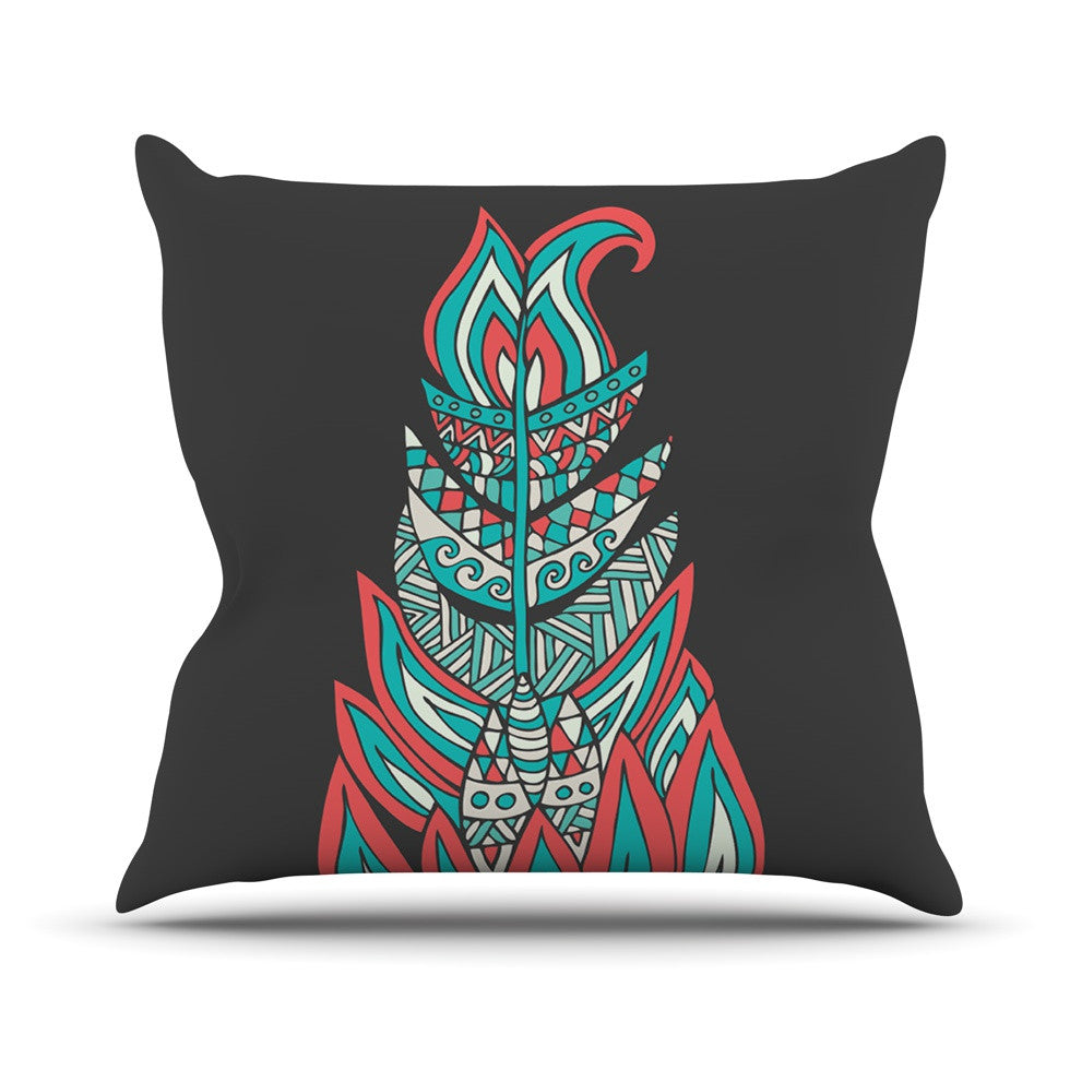 "Pom Graphic Design ""A Romantic Feather"" Red Teal Throw Pillow - KESS InHouse  - 1"