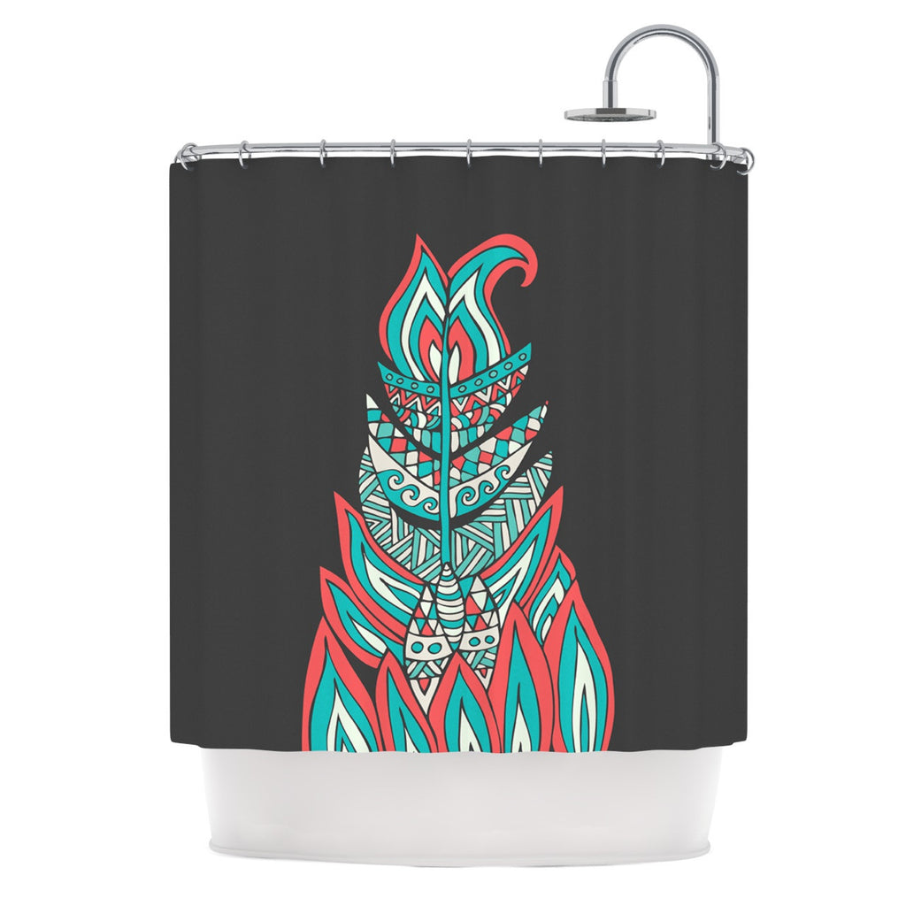 "Pom Graphic Design ""A Romantic Feather"" Red Teal Shower Curtain - KESS InHouse"