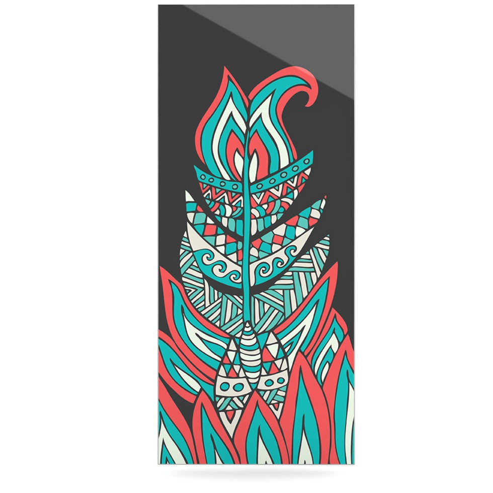 "Pom Graphic Design ""A Romantic Feather"" Red Teal Luxe Rectangle Panel - KESS InHouse  - 1"
