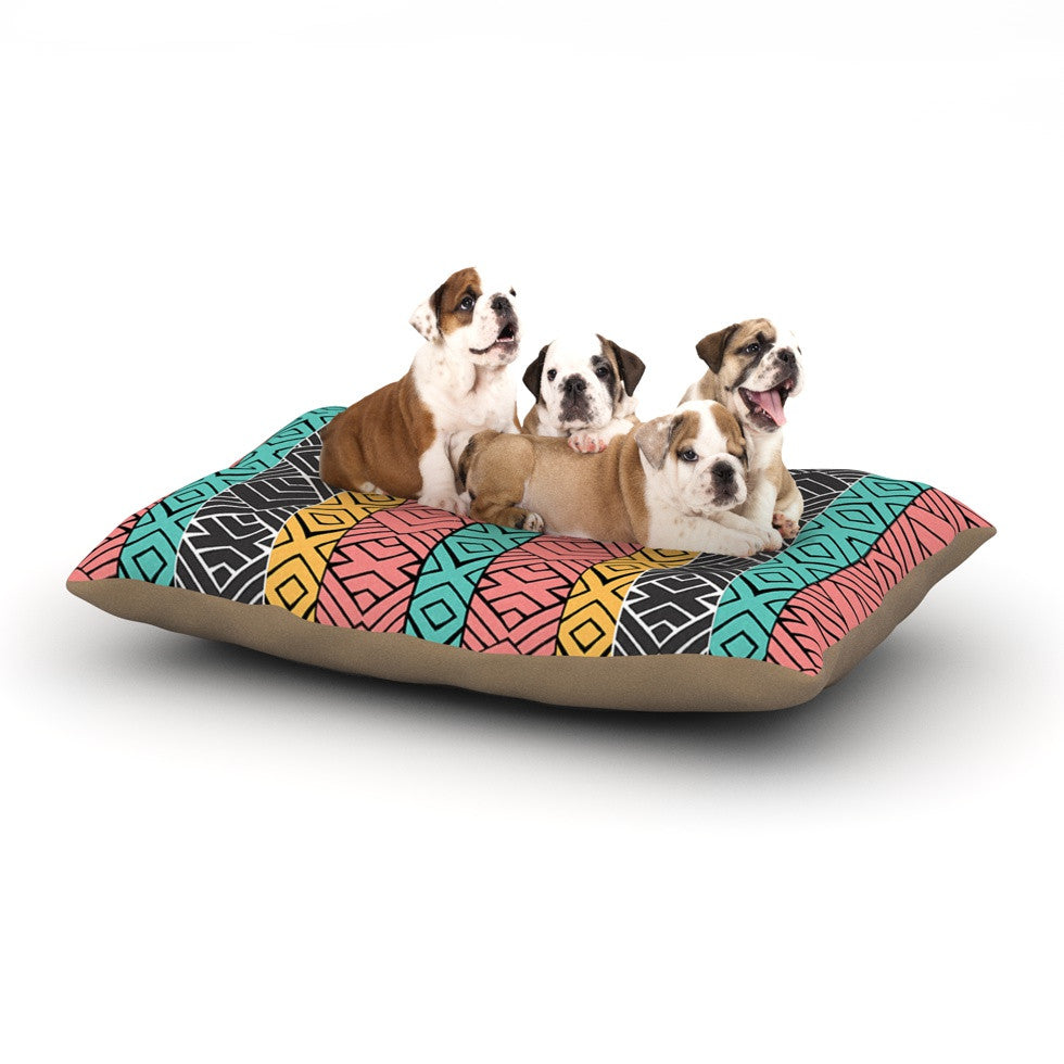 "Pom Graphic Design ""Artisian"" Pink Teal Dog Bed - KESS InHouse  - 1"