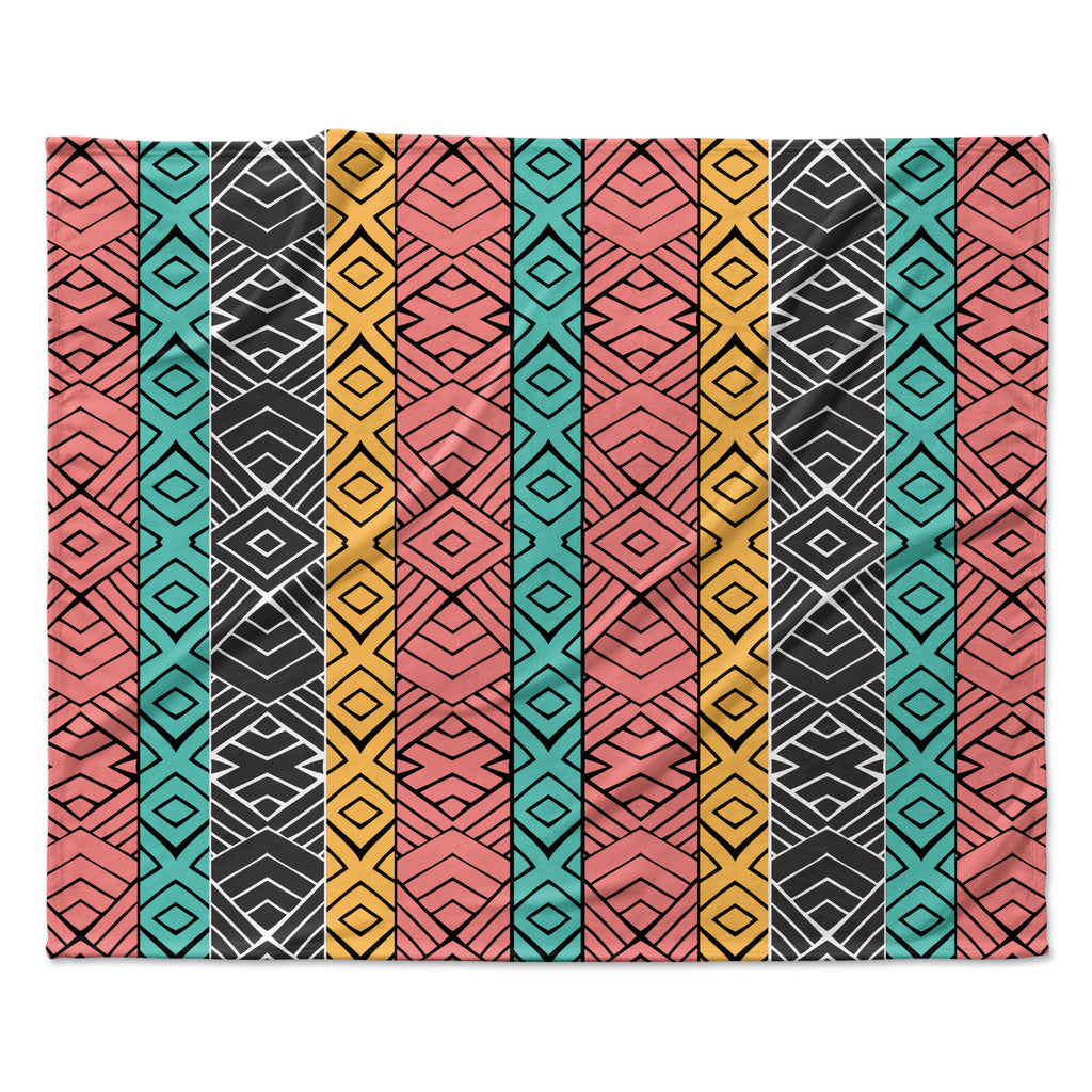 "Pom Graphic Design ""Artisian"" Pink Teal Fleece Throw Blanket"