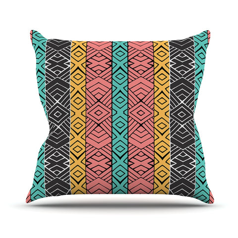 "Pom Graphic Design ""Artisisan"" Pink Teal Outdoor Throw Pillow - Outlet Item"