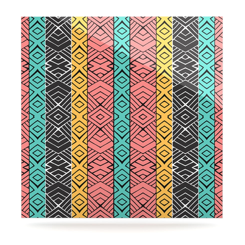 "Pom Graphic Design ""Artisian"" Pink Teal Luxe Square Panel - KESS InHouse  - 1"