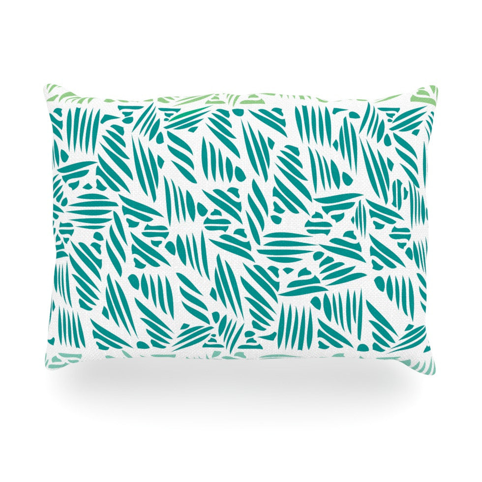 "Pom Graphic Design ""Bamboo"" Teal Green Oblong Pillow - KESS InHouse"