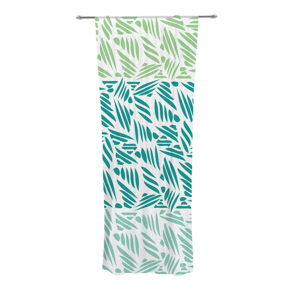 "Pom Graphic Design ""Bamboo"" Teal Green Decorative Sheer Curtains - KESS InHouse"