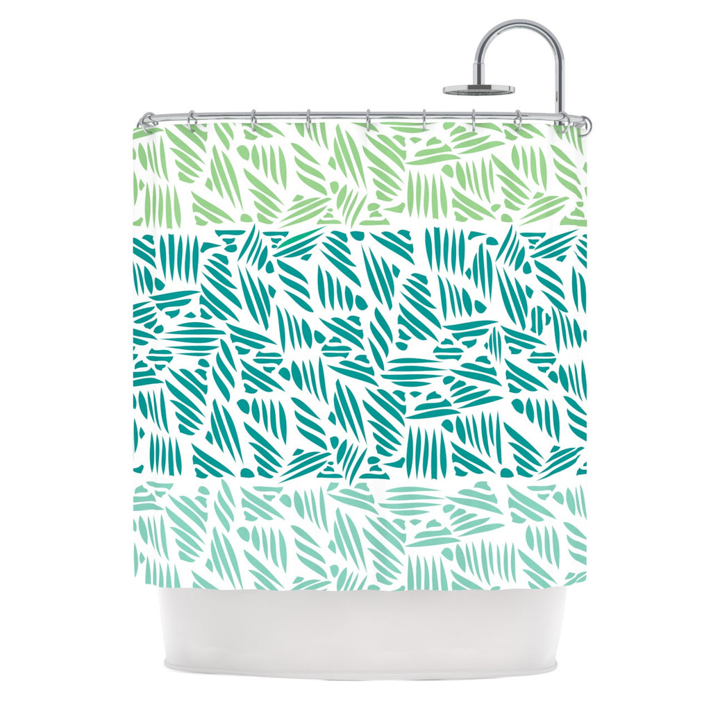 "Pom Graphic Design ""Bamboo"" Teal Green Shower Curtain - KESS InHouse"