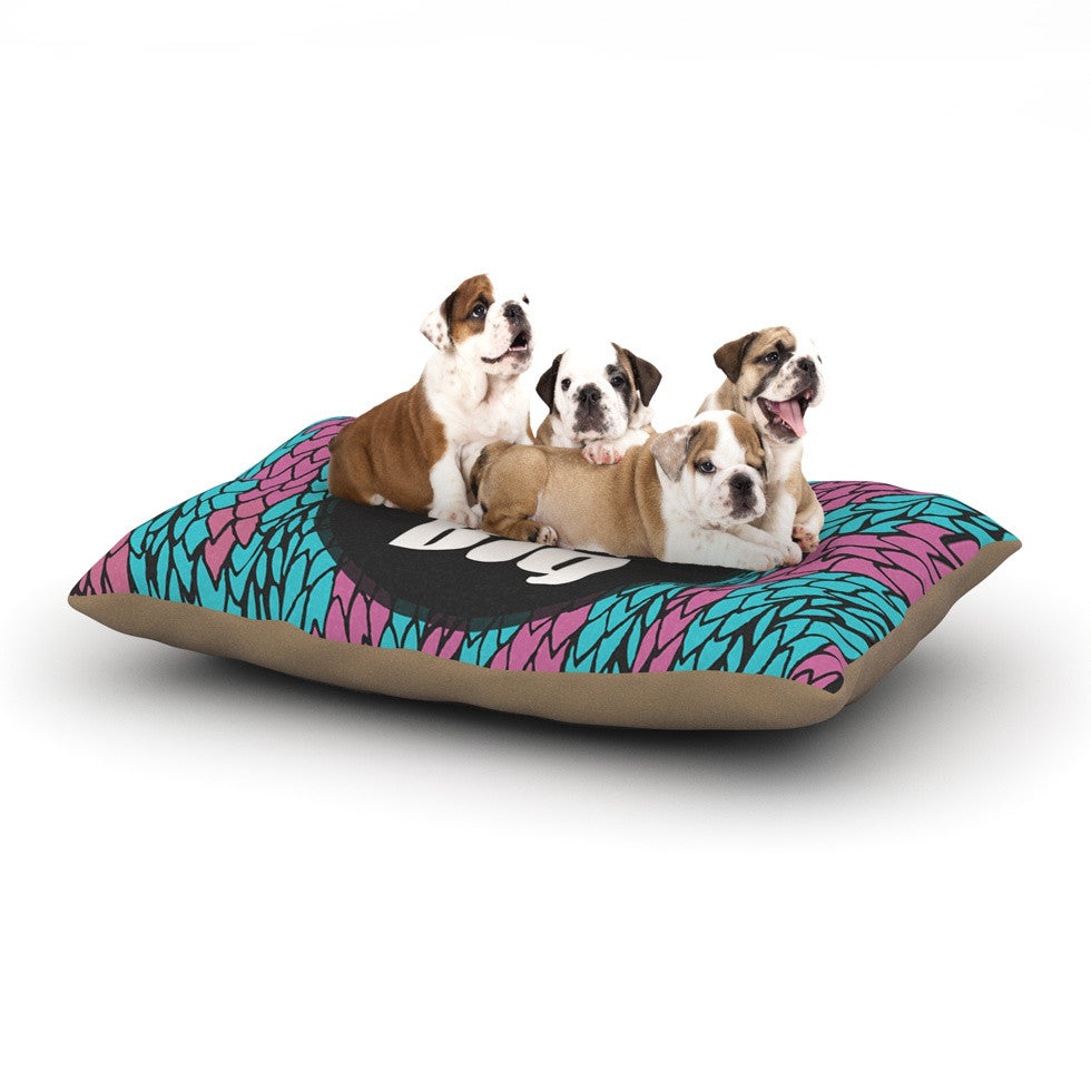 "Pom Graphic Design ""Dream Big"" Blue Purple Dog Bed - KESS InHouse  - 1"