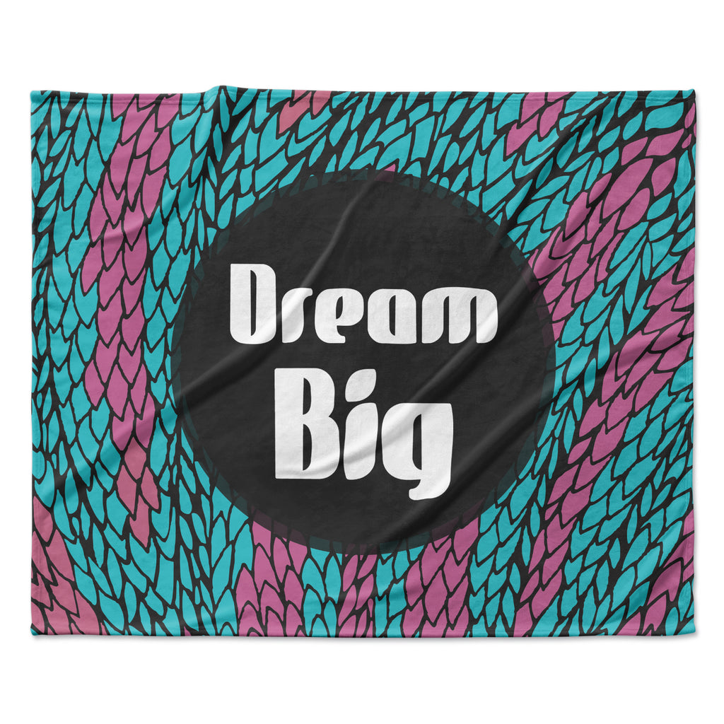 "Pom Graphic Design ""Dream Big"" Blue Purple Fleece Throw Blanket"
