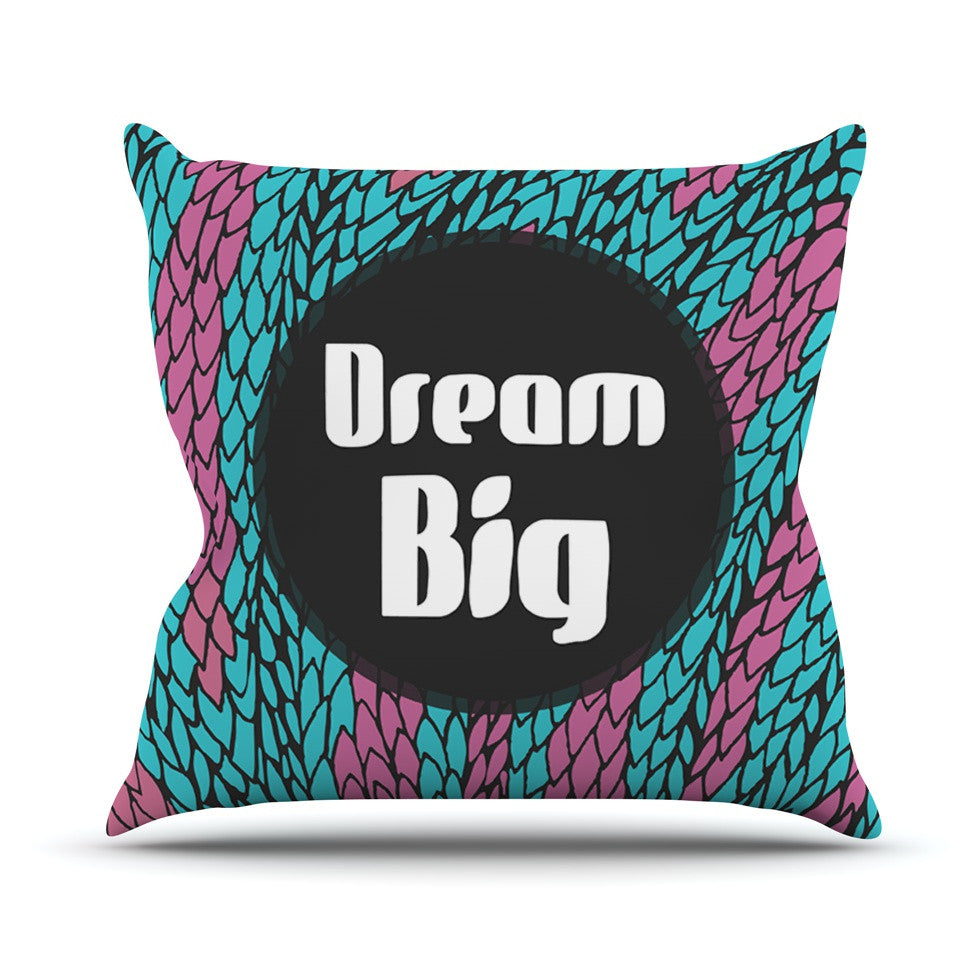 "Pom Graphic Design ""Dream Big"" Blue Purple Outdoor Throw Pillow - KESS InHouse  - 1"