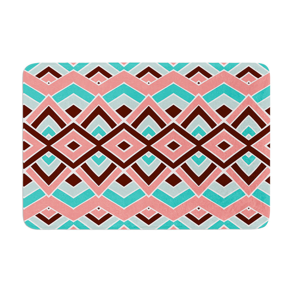 "Pom Graphic Design ""Eclectic"" Peach Teal Memory Foam Bath Mat - KESS InHouse"