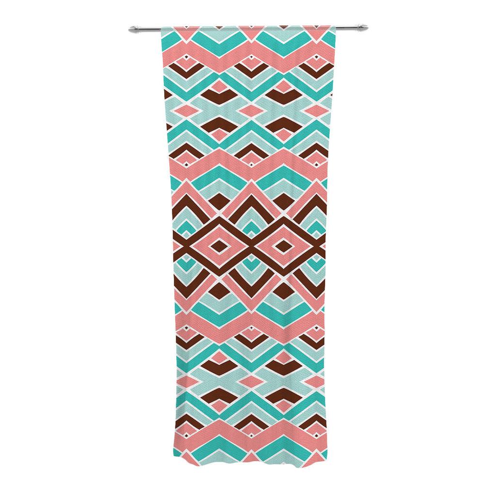 "Pom Graphic Design ""Eclectic"" Peach Teal Decorative Sheer Curtains - KESS InHouse"