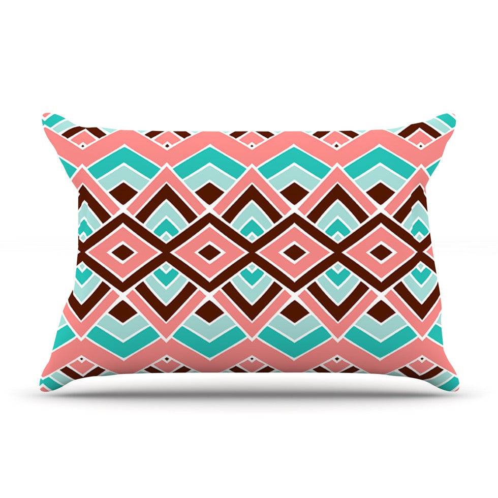 "Pom Graphic Design ""Eclectic"" Peach Teal Pillow Sham - KESS InHouse"